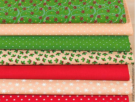 """Шитье ручной работы. Ярмарка Мастеров - ручная работа. Купить арт. 80188 Набор ткани 7 шт. """"Рождество"""". Handmade."""
