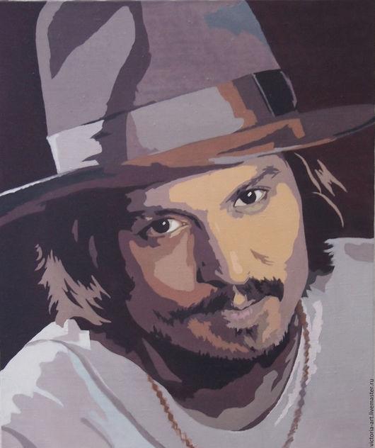 Люди, ручной работы. Ярмарка Мастеров - ручная работа. Купить портрет Джонни Деппа. Handmade. Комбинированный, портрет на заказ, холст