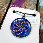 Украшения handmade. Livemaster - original item Night Pendant. Dot painting. Galaxy, stars, sky. Handmade.