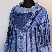 Одежда ручной работы. Ярмарка Мастеров - ручная работа Валяная блузка-бохо Синий туман. Handmade.