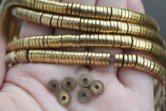 Для украшений ручной работы. Ярмарка Мастеров - ручная работа. Купить Латунь, бусины шайбы 7 мм  (ОСТ 1 шт). Handmade.