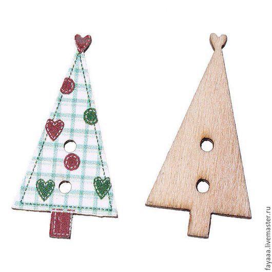 """Шитье ручной работы. Ярмарка Мастеров - ручная работа. Купить Пуговицы деревянные """"Новогодняя Елочка"""". Handmade. Разноцветный, пуговицы"""