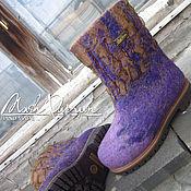 """Обувь ручной работы. Ярмарка Мастеров - ручная работа Валяные ботинки Детские """" Фиолет """". Handmade."""