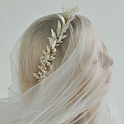 Свадебный салон ручной работы. Ярмарка Мастеров - ручная работа ободок золотистый. Handmade.