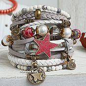 Украшения handmade. Livemaster - original item Leather multi-row bracelet in the Boho-chic style
