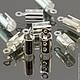 Концевики зажимы с для шнуров цвета светлое серебро комплектами по 10 штук для использования в сборке украшений ручной работы
