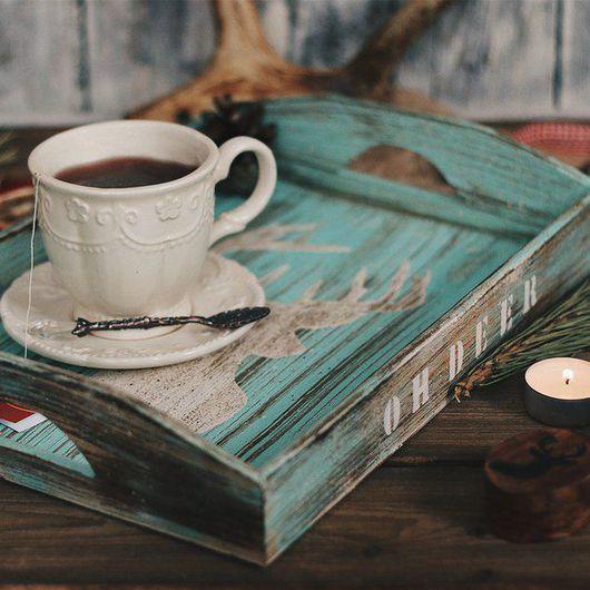 Кухня ручной работы. Ярмарка Мастеров - ручная работа. Купить Деревянный поднос в скандинавском стиле «OH, DEER». Handmade. Дерево
