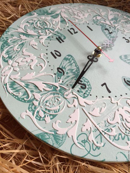 Часы для дома ручной работы. Ярмарка Мастеров - ручная работа. Купить Часы настенные нежная бирюза. Handmade. Часы настенные