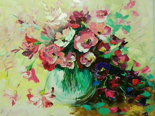 Картины цветов ручной работы. Ярмарка Мастеров - ручная работа. Купить Розовый аромат. Handmade. Букет, картина маслом, дизайн