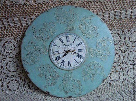 """Часы для дома ручной работы. Ярмарка Мастеров - ручная работа. Купить Часы для столовой  """"Оливки"""". Handmade. Тёмно-бирюзовый, старение"""