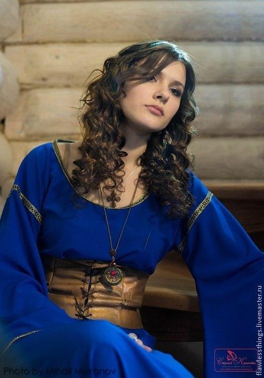 Платья ручной работы. Ярмарка Мастеров - ручная работа. Купить Средневековое платье в пол с корсетом. Handmade. Синий, средневековое платье