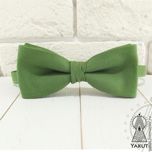 Галстуки, бабочки ручной работы. Ярмарка Мастеров - ручная работа. Купить Галстук бабочка Лесная / бабочка-галстук зеленая хлопковая. Handmade.