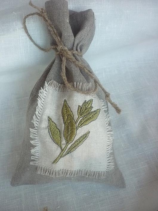 """Кухня ручной работы. Ярмарка Мастеров - ручная работа. Купить Льняной мешочек """"Лавровый лист"""" с заплаткой. Handmade. Мешочки, травы"""