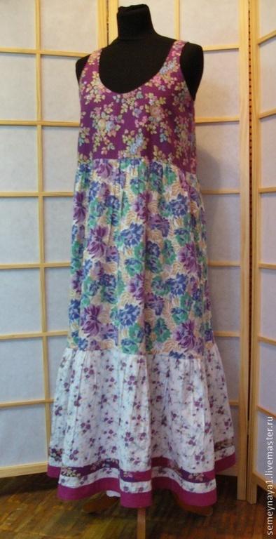 Платья ручной работы. Ярмарка Мастеров - ручная работа. Купить сарафан летний. Handmade. Фиолетовый, хлопок, длинная юбка