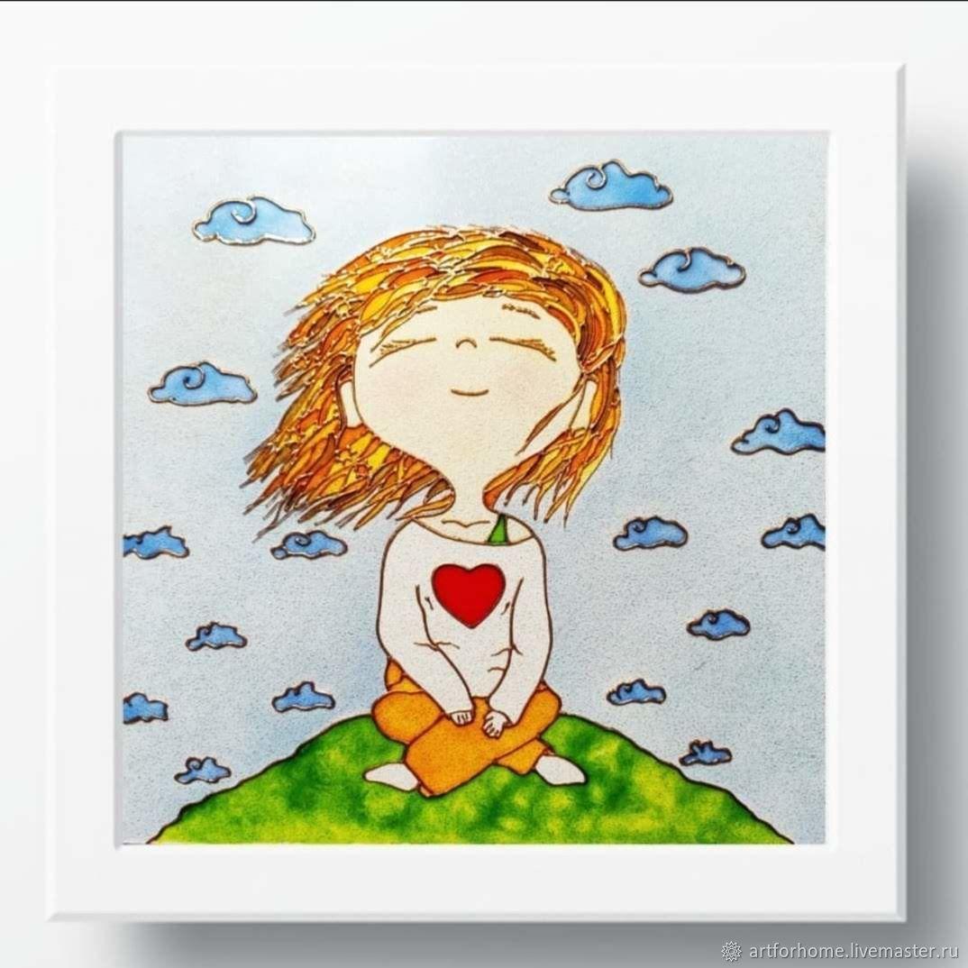 Подарок девушке, картина, витражная роспись: Девушка-счастье, Картины, Санкт-Петербург,  Фото №1