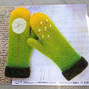 Аксессуары handmade. Livemaster - original item Mittens knitted double warm dandelion. Handmade.