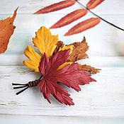 Украшения handmade. Livemaster - original item Brooch made of leather Bouquet autumn feelings. Handmade.