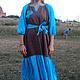 """Платья ручной работы. Ярмарка Мастеров - ручная работа. Купить Платье """"Бирюза и коричневый"""". Handmade. Однотонный, народный покрой"""
