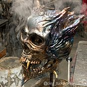 Субкультуры handmade. Livemaster - original item Decorations of subcultures: Metal skull. the demon. Handmade.