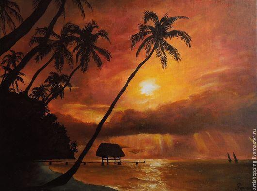 Пейзаж ручной работы. Ярмарка Мастеров - ручная работа. Купить Paradise. Картина маслом. Handmade. Погода, подарок на любой случай