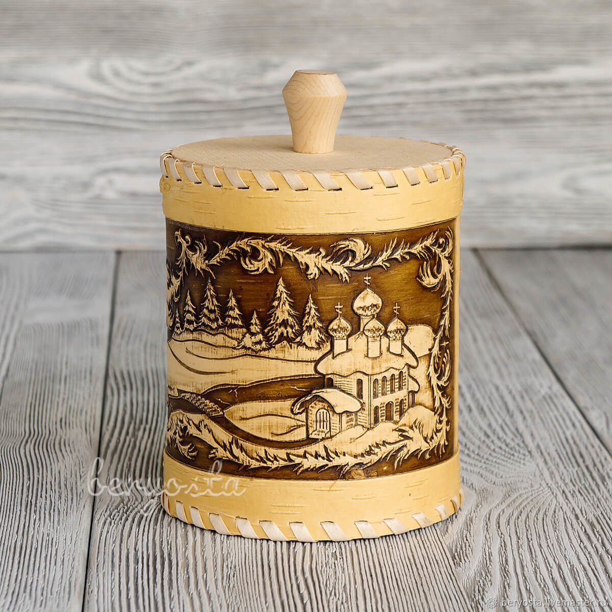 Birch bark tuesok 'Winter'. Jar for sugar, salt, tea, herbs, Jars, Novosibirsk,  Фото №1