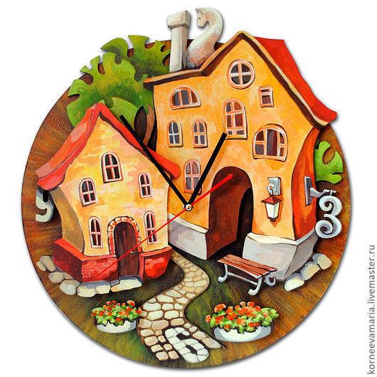 """Часы для дома ручной работы. Ярмарка Мастеров - ручная работа. Купить Часы """"Дворик"""". Handmade. Дворик, авторская ручная работа"""
