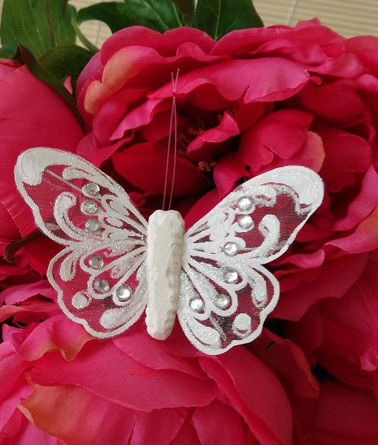 Бабочки на прищепке со стразами и глиттером Д27