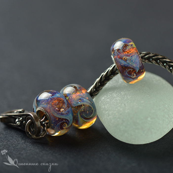Charms Moonlight lampwork glass silver, Beads1, Moscow,  Фото №1