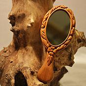 Для дома и интерьера ручной работы. Ярмарка Мастеров - ручная работа Зеркальце деревянное с ручкой. Handmade.
