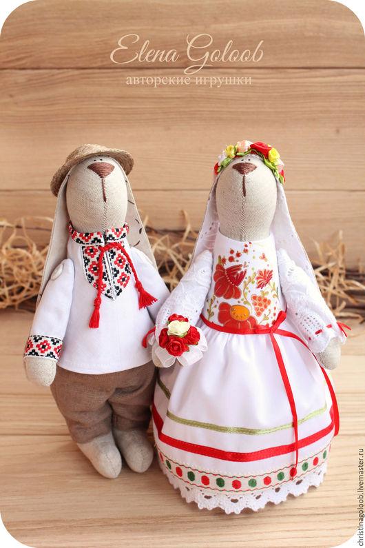 """Куклы Тильды ручной работы. Ярмарка Мастеров - ручная работа. Купить Пара зайчиков """" Украинская свадьба"""". Handmade. Белый"""
