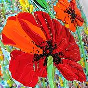 """Картины и панно ручной работы. Ярмарка Мастеров - ручная работа Картина из стекла """"Маки"""", 30х30 см, 2016г., фьюзинг. Handmade."""