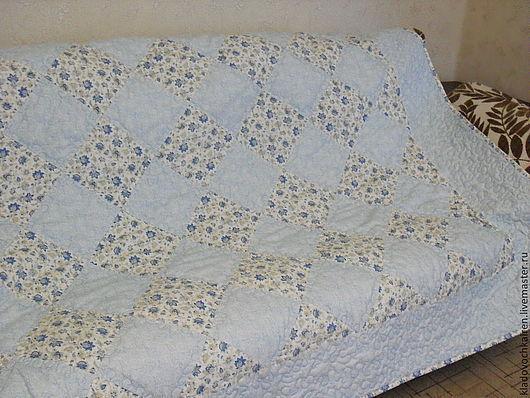 """Текстиль, ковры ручной работы. Ярмарка Мастеров - ручная работа. Купить Комплект-одеяло с подушками""""Королевская гжель"""". Handmade. Голубой, стиль"""