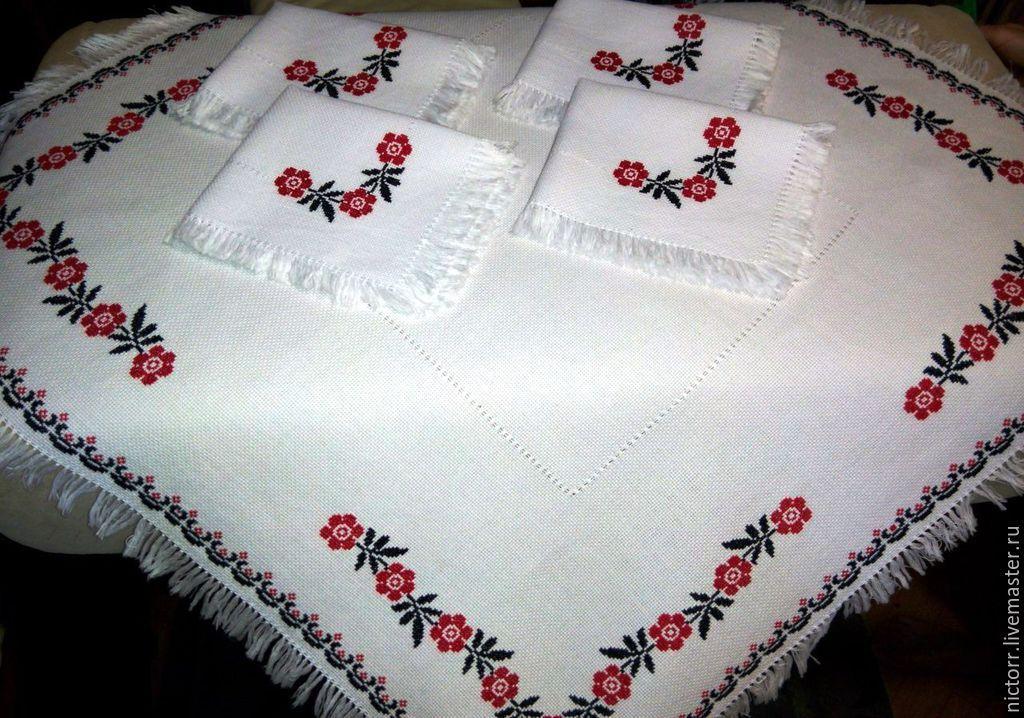 Ручная работа скатерть вышивка
