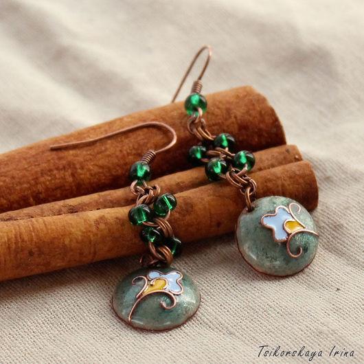 Серьги ручной работы. Ярмарка Мастеров - ручная работа. Купить Серьги с цветочным орнаментом. Восточный стиль, длинные, легкие. Handmade.