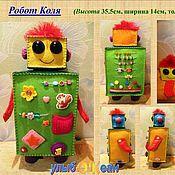 """Куклы и игрушки ручной работы. Ярмарка Мастеров - ручная работа Развивающая игрушка """"Робот Коля"""" (из фетра). Handmade."""