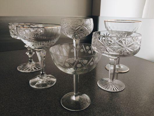 Винтажная посуда. Ярмарка Мастеров - ручная работа. Купить Набор винтажных шампанок, хрусталь, богемское стекло. Handmade. Шампанки