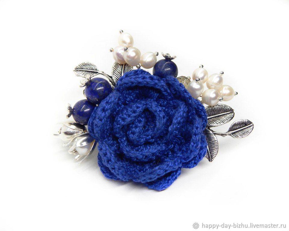 Knitted brooch. flower brooch. Brooch boho. Brooch blue – shop ...