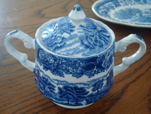 """Винтажная посуда. Ярмарка Мастеров - ручная работа. Купить Сахарница """"English Scenery"""", серия «Woode Ware». Handmade. Синий"""