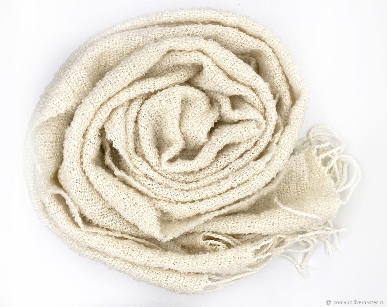 White boucle scarf. Hand weaving, Scarves, Nizhny Novgorod,  Фото №1