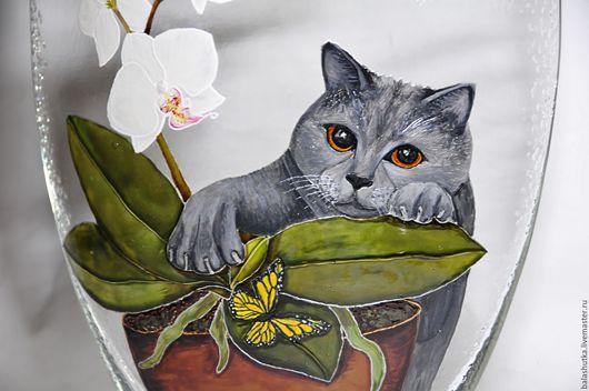 """Вазы ручной работы. Ярмарка Мастеров - ручная работа. Купить Ваза """"Охота за бабочками"""". Handmade. Комбинированный, кошка, бабочка"""