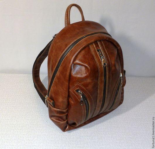 Рюкзаки ручной работы. Ярмарка Мастеров - ручная работа. Купить Рюкзак кожаный городской 25. Handmade. Рыжий, женский рюкзак