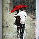 Обложки ручной работы. Ярмарка Мастеров - ручная работа. Купить Обложка для паспорта Вдвоем под дождем. Handmade. Бежевый, Паспорт