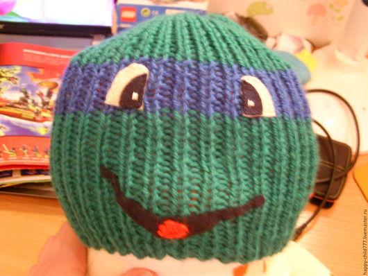 Шапки и шарфы ручной работы. Ярмарка Мастеров - ручная работа. Купить шапка черепашка-ниндзя. Handmade. Зеленый, черепашка, мультяшки