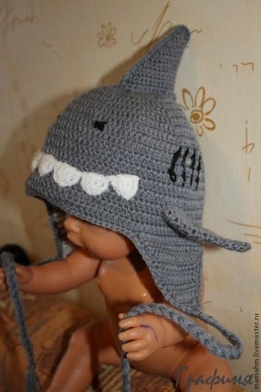 Шапки и шарфы ручной работы. Ярмарка Мастеров - ручная работа. Купить Шапка Акула. Handmade. Серый, шапка зимняя