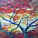 Пейзаж ручной работы. Ярмарка Мастеров - ручная работа. Купить красное. Handmade. Осень, природа, акрил, дерево, лес, ветер