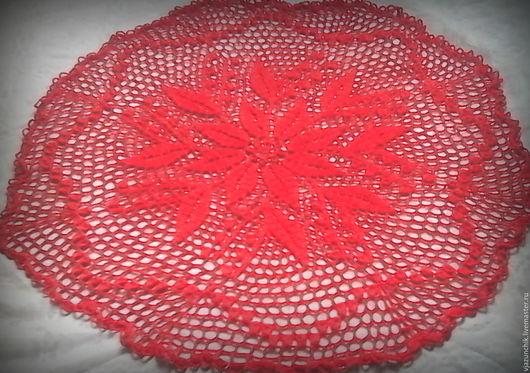 Текстиль, ковры ручной работы. Ярмарка Мастеров - ручная работа. Купить Салфетка вязаная Красные цветы. Handmade. Ярко-красный