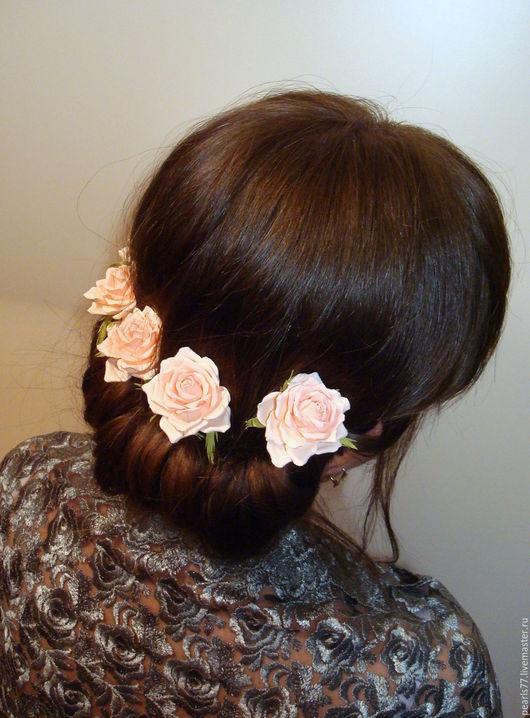 """Заколки ручной работы. Ярмарка Мастеров - ручная работа. Купить Шпильки для волос """"Нежность"""". Handmade. Кремовый, персиковый, подарок девушке"""