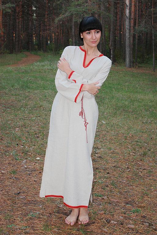 Этническая одежда ручной работы. Ярмарка Мастеров - ручная работа. Купить Платье-рубашка. Handmade. Славянская рубаха, платье-туника