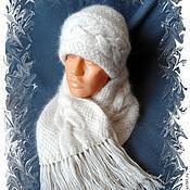 Аксессуары ручной работы. Ярмарка Мастеров - ручная работа КОМПЛЕКТ шапка шарф собачий пух. Handmade.