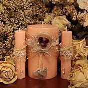"""Свадебный салон ручной работы. Ярмарка Мастеров - ручная работа Свадебные свечи """"Чайная роза"""". Handmade."""